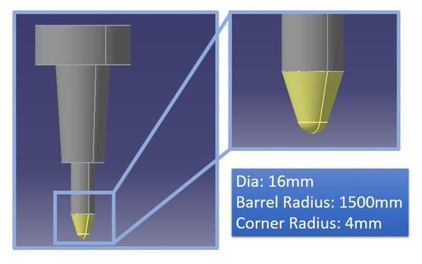 Typical representation of Barrel Radius Corner Radius 3DEXPERIENCE CATIA tech tips