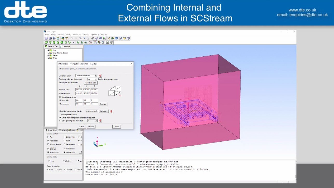 Using scSTREAM to model internal and external flows for cooling electrical devices